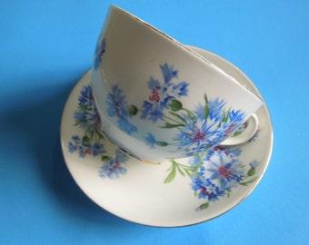 Hammersley Breakfast Cup Saucer Large Cornflowers Wedding Anniversary Birthday Bridal Shower Collector Gift