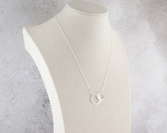 Sterling Silver Two Circles Necklace, Eternity Necklace, Interlocking Circles, Delicate Fine Chain