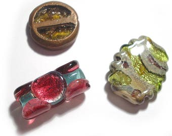 Handmade Glass SRA Lampwork Beads, Three Ab Fab Focals 2