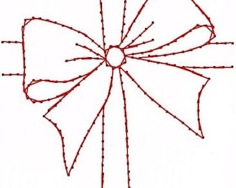 Christmas Gift Bow Ribbon Paper Embroidery Pattern for Greeting Cards