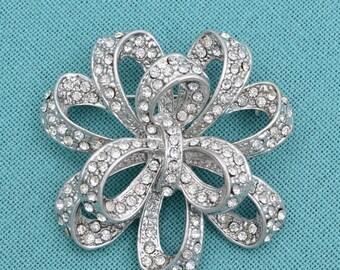 Crystal Silver Brooch Rhinestone Wedding Brooch Silver Brooch Rhinestone Bridal Bouquet Brooches Wedding Accessories