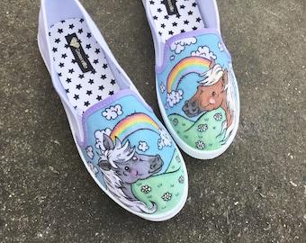 Rainbow Meadow slip ons - custom shoes - horses - rainbow - glitter - ponies - shoeart - ooak - handmade - sneakers - footwear