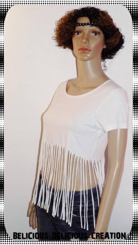 Original Top Women pattern! FRINGED! Cotton black size l long: 60 cm Belicious Delicious Creation