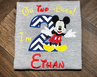 Mickey Mouse Birthday Shirt, Boys Birthday Shirt, 2nd Birthday Shirt for Boys, Mickey Mouse Birthday Party, Oh Two-dles Im 2 Birthday Shirt