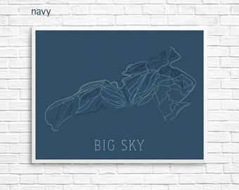 Big Sky Ski Map Print — Big Sky Montana Skiing