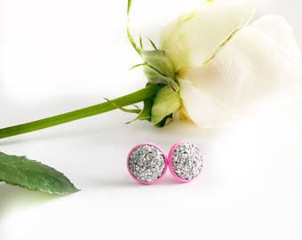 Silver and Pink Druzy Earrings - Druzy Stud Earrings - Pink Earrings - Silver Druzy Round Earrings - Round Pink Earrings - Gift for Her