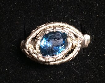 Topaz sterling silver wire wrapped ring