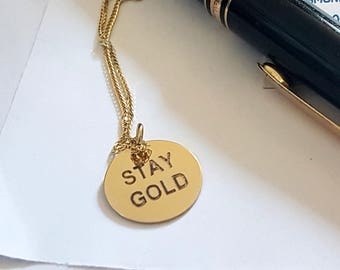 Stay Gold Charm Necklace, 14k Gold, Sweet Sixteen Charmed Chain Necklace, Graduation Gift
