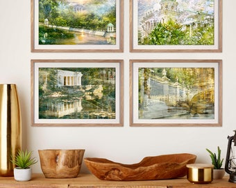 Fine art prints Gallery wall set of 4 prints Green Summer Landscape photography prints St Petersburg Nature Large wall art 5x7 print set