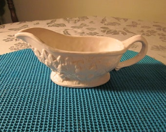 Vtg Cooks Club Gravy Boat Oak Leaves and Acorns and Branch Style Handle 9 1/2 Inches from Handle to Pour Spout 1980's Ceramic