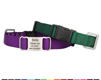 Personalized Nylon Dog Collar with Laser Engraved ScruffTag Nameplate - 15 Color Options