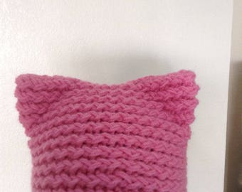 Pink knitted cat hat