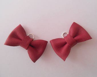 2 mini leather knot french of raspberry 2 x 3 cm