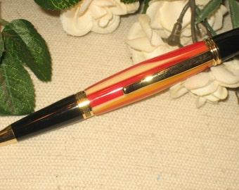 Orange Writing Pen, Burnt Oranges, Gold Accents Acrylic Hand Turned Writing Pen