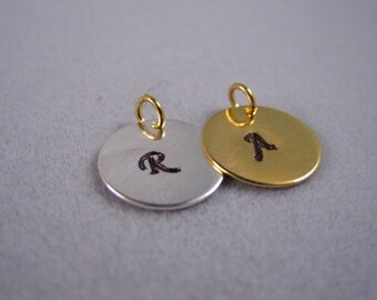 Add On Circle charm, 12mm, Initial charm, Gold plated circle charm, Silver plated circle charm,