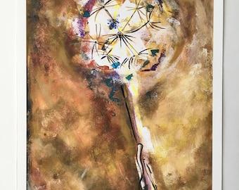 Wind blown dandelion. Giclee Fine Art print, ready to frame