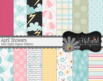 April Showers 12x12 300 dpi  Digital Scrapbook Decorative Pattern Papers and Backgrounds