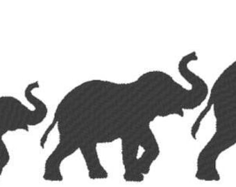 Elephant Embroidery Design File -solid fill- multiple formats - one color design -4 sizes - instant download