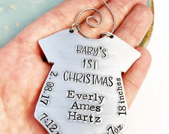 Personalized Christmas Ornament ~ Baby's First ~ Family Ornament ~ Hand Stamped with Name ~ Handstamped ~ Custom New Baby Statistics ~ shirt