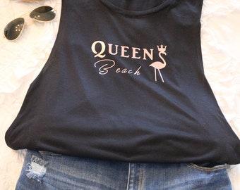 Queen Beach bella brand flowy tank rose gold flamingo w/ crown