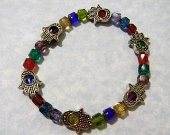 Multicolor Cathedral Bead, Crystal and Hamsa Bead Frame Stretch Bracelet
