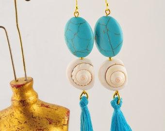 Earrings pearls, shells and tassels