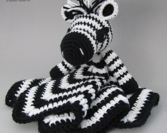 Zany Zebra Lovey - CROCHET PATTERN instant download  - blankey, blankie, security blanket