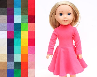 Fits like Wellie Wishers Doll Clothes - Flared Mock Neck Dress, You Choose Color and Sleeve Length   14.5 Inch Doll Clothes