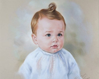 Portrait painting, Pastel of a baby boy