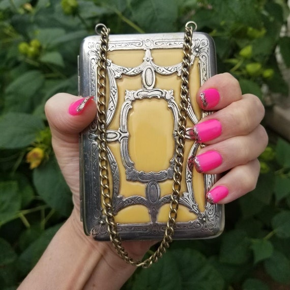 Antique celluloid silver necessaire handbag chain purse, coin purse, powder, compact, mirror, credit card case, business card case, wallet