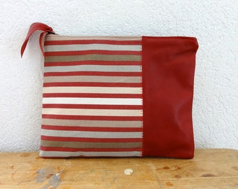 Leather Clutch in Red Italian Leather and European Red Stripe Canvas - Indie Patchwork Series