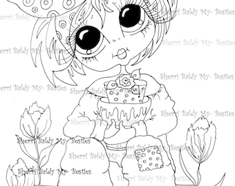 INSTANT DOWNLOAD Digital Digi Stamps Big Eye Big Head Dolls Digi Little Miss Tulip By Sherri Baldy