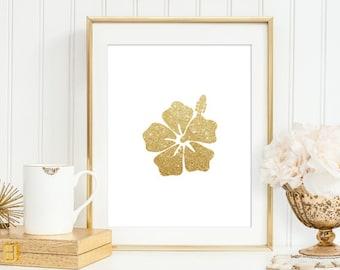 Hawaiian flower gold glitter print, Hawaiian hibiscus flower art, Hawaiian golden flower wall decor, shine flower 5x7, 8X10,11x14 Hawaii Art