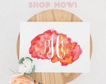 Printable or Printed Watercolor Monogram Note Cards - DIY Stationery, Monogrammed Cards, Watercolor, Customized Personalized