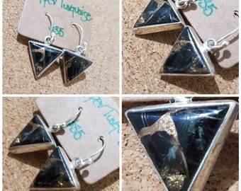 Black Copper Turquoise Unique 925 Earrings