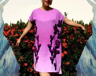 Purple Shift Dress - Artistic Dress, Short Sleeve Shift Dress, Lavender Dress, Designer Print Dress, Boat Neck Dress, Garden Party Dress