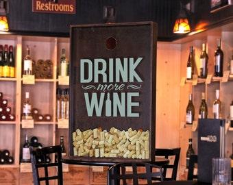 "24x36 Wine Cork Holder / Wall Decor Art - ""Drink more Wine"" / Wine Quotes"