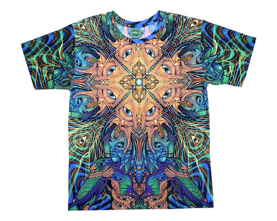 Long sleeve T shirt 'UV Micro Macro'. Psychedelic T shirt, trippy T shirt, UV active rave T, festival T-shirt, visionary art T, Boho T shirt