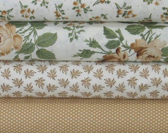 Four Brown, Tan, Green and White Floral Fabrics for Sale, 100% Cotton Quilt Fabric Bundle, Evelyn by Whistler Studios, Fat Quarter