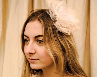 White and Ivory Rose Fascinator