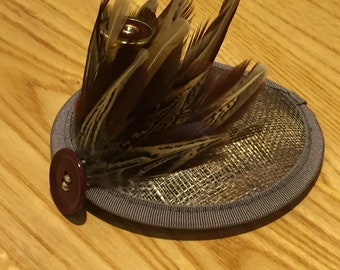 Grey & red pheasant feather fascinator