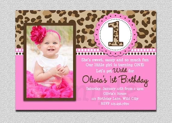 Leopard birthday invitation 1st birthday party invitation filmwisefo