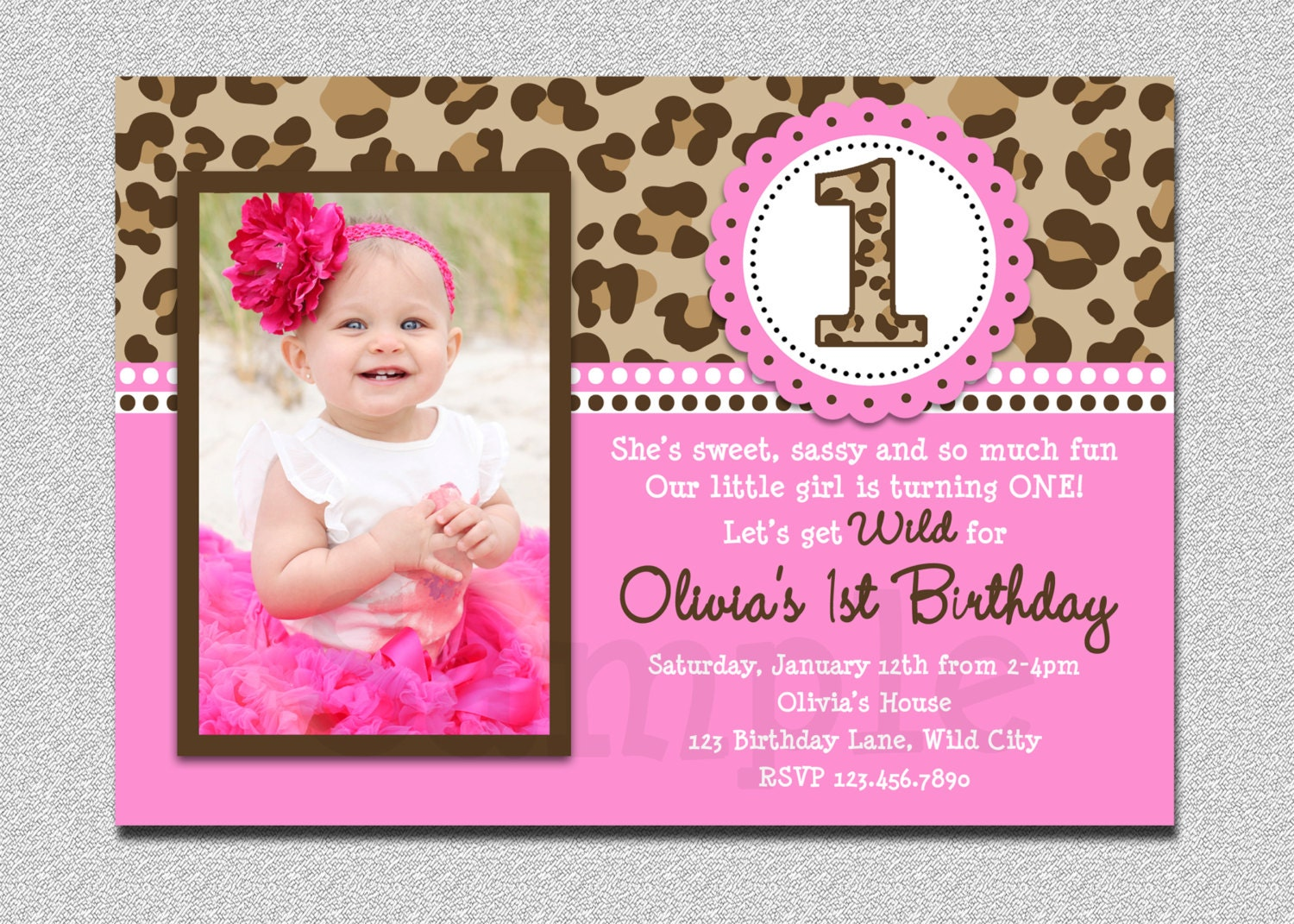 Leopard Birthday Invitation 1st Birthday Party Invitation
