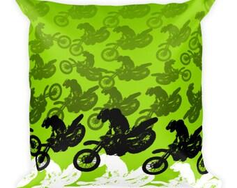 Green motocross dirt bike racing Square Pillow