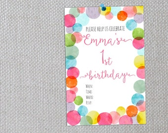 Custom First Birthday Invitation | Digital Invite | Party Invitation | Confetti Invite | Custom Calligraphy Invite | Typography Invitation