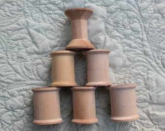 6 Large Wooden Spools from sewing thread