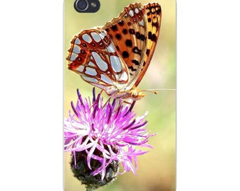 Apple iPhone Custom Case White Plastic Snap on - Beautiful Butterfly Perched on Flower Closeup 7482