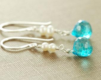 Swiss Blue Pearl Drop Earrings in Sterling Silver, Wire Wrap Dangle Earrings, aubepine