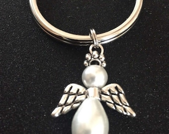 Angel Keychain Key Ring Guardian Prarl Angel Key Chain Remembrance Gift Heart Charm or Female Relative Charms Available see add'l pics