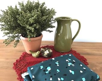 Knit Fabric, Knit Fabric By The Yard, Vintage Fabrics, Dress Fabric, Sewing Fabric, Green Fabric, Aqua Dots, White Dots, Black Dots, 2 Yards